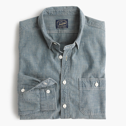Slim selvedge chambray utility shirt