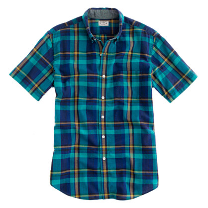 Indian cotton short-sleeve shirt in Maguire plaid