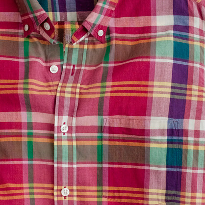 Indian cotton shirt in brick plaid
