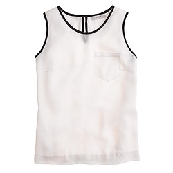 Tipped silk pocket tank