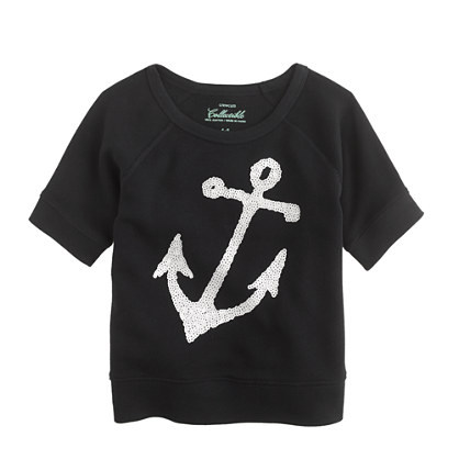Girls' sequin anchor sweatshirt