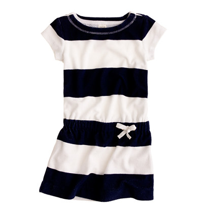 Girls' terry drawstring dress in rugby stripe