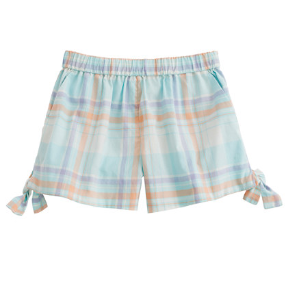 Girls' little bows short in pastel plaid