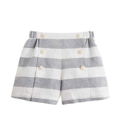 Girls' sailor short in linen stripe