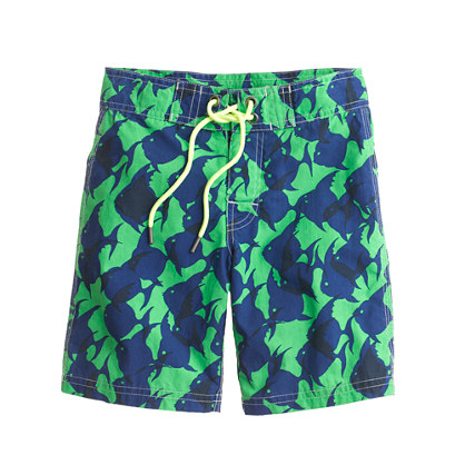 Boys' board shorts in tropical fish print