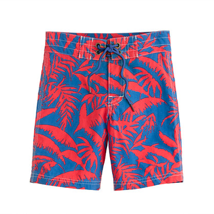 Boys' board shorts in neon palm tree print