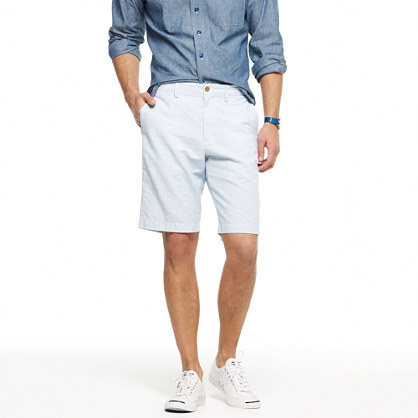 Club short in stripe linen
