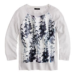 Merino sweater in inky floral print