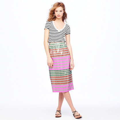 Collection Sequin-stripe midi skirt