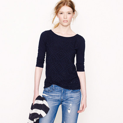 Angular eyelet top