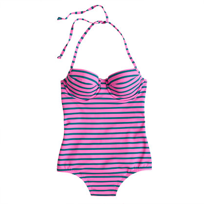 Double-stripe underwire halter tank