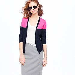 Featherweight cotton cardigan in colorblock