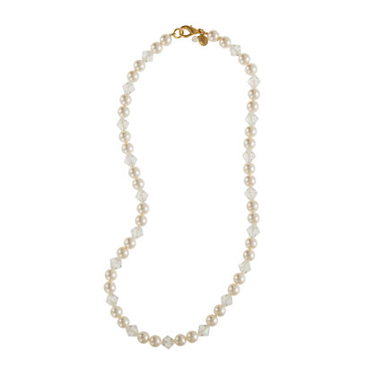 Girls' pearl and crystal necklace