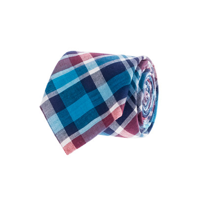 Indian cotton tie in coastal plaid