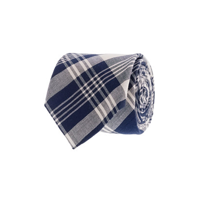 Indian cotton tie in fleet plaid