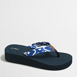 Factory printed cotton wedge flip-flops