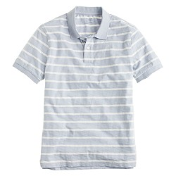 Slub jersey polo in faded peri stripe