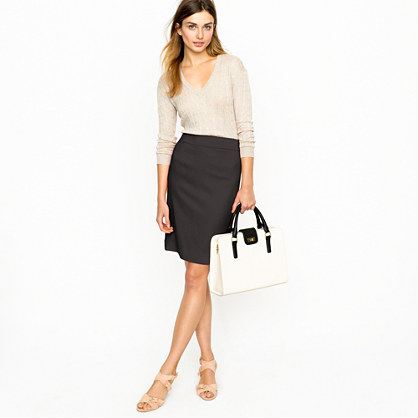 Pencil skirt in wool crepe