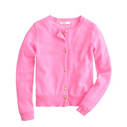 Girls' cashmere star-button cardigan in larger sizes