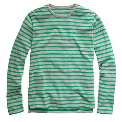 Long-sleeve heavyweight slub tee in even stripe