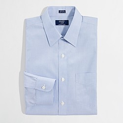 Factory wrinkle-free point-collar dress shirt
