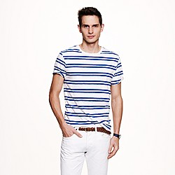 Slub jersey tee in double stripe