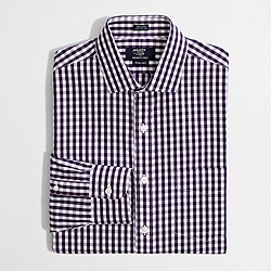 Factory wrinkle-free spread-collar dress shirt