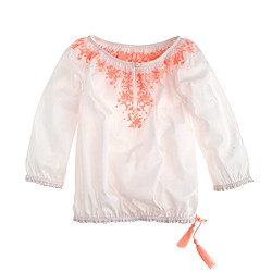 Girls' embroidered peasant top