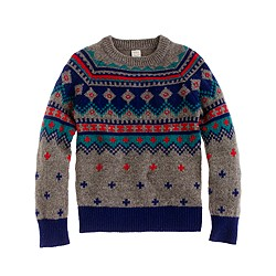 Boys' lambswool Fair Isle sweater in multicolor