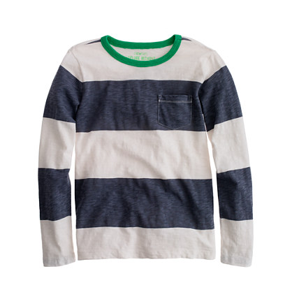 Boys' long-sleeve ringer tee in rugby stripe