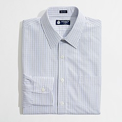 Factory slim point-collar dress shirt in tattersall