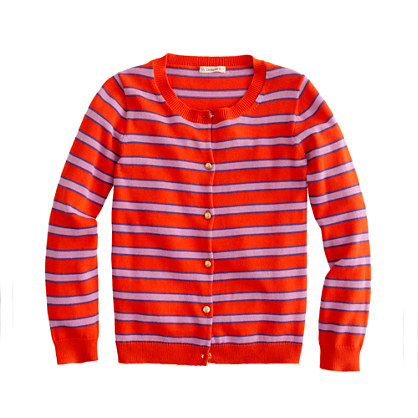 Girls' gold-button Caroline cardigan in stripe