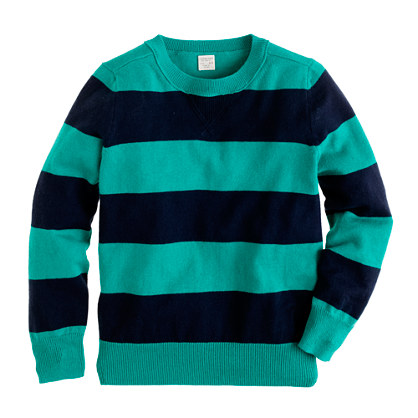 Boys' cotton-cashmere sweatshirt in rugby stripe