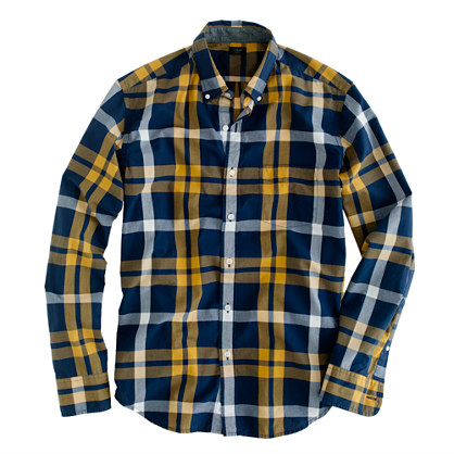 Tartan shirt in vintage navy and yellow