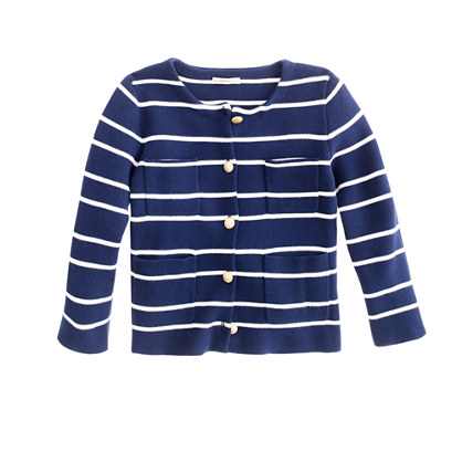Girls' sweater-jacket in stripe