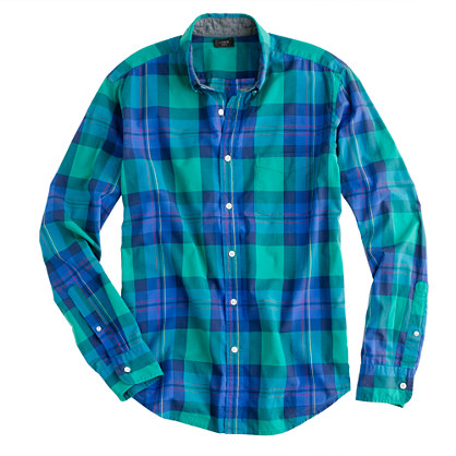 Slim tartan shirt in felt green