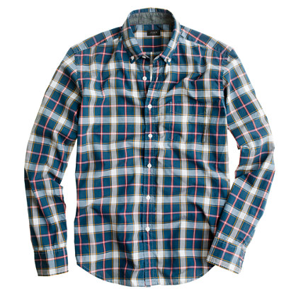 Slim tartan shirt in burnished spruce
