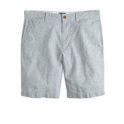 "9"" Stanton short in stripe Irish linen-cotton"