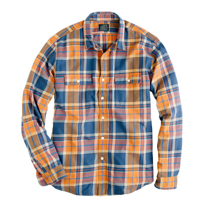 Flannel shirt in Caribbean blue plaid