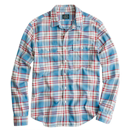 Slim flannel shirt in azure plaid