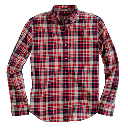 Slim heather plaid shirt in hillside poppy