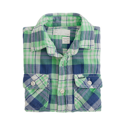 Boys' vintage camp flannel shirt in fleetwood plaid