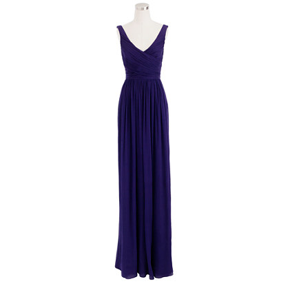 Petite Heidi long dress in silk chiffon