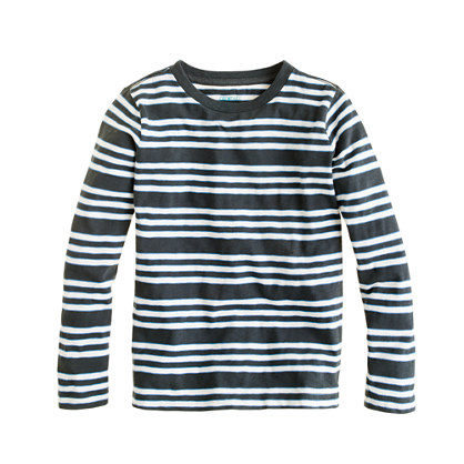 Boys' long-sleeve slub tee in engineered stripe