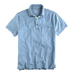 Indigo slub jersey polo in arrow print