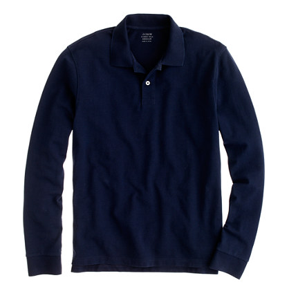 long-sleeve piqué polo