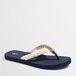 Factory braided cotton flip-flops