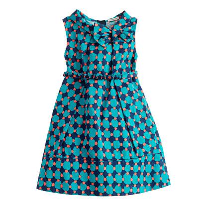 Girls' retro bow dress in geometric dot