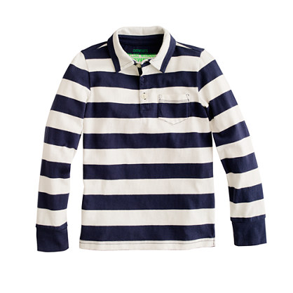 Boys' long-sleeve jersey polo in stripe