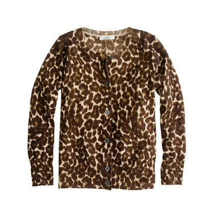 Girls' merino leopard cardigan